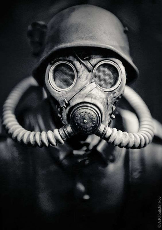 Soldier Wearing Gas Mask