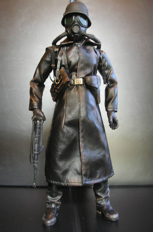 Gas Mask Soldier in Leather Trench Coat