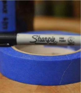 Blue Painters Tape and Sharpie