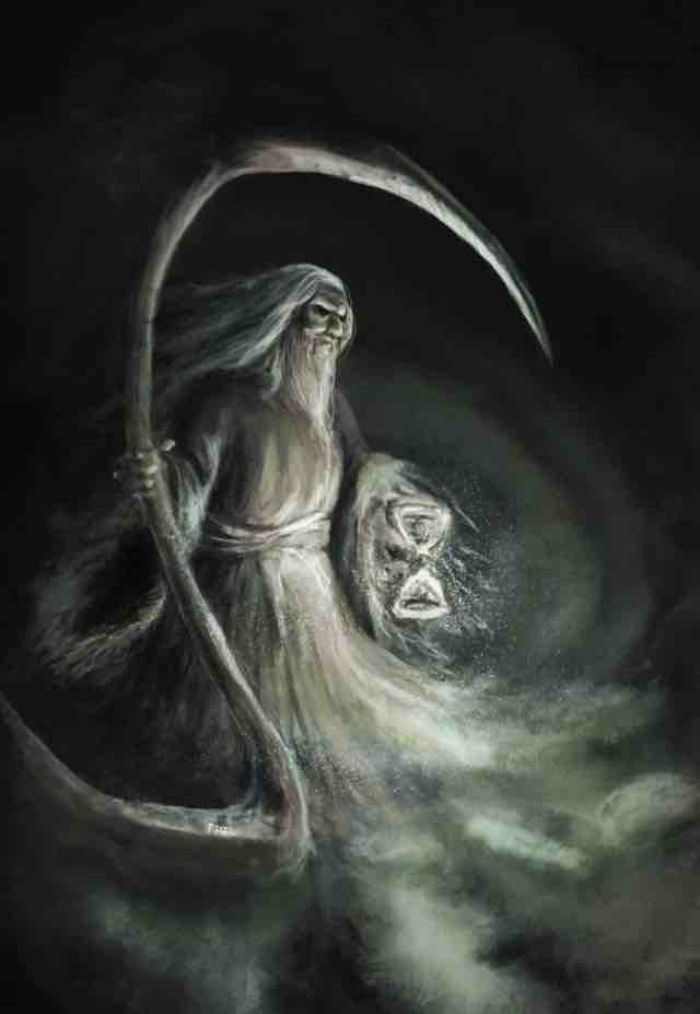 Father Time with Scythe and Hourglass