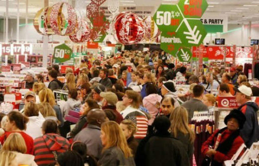 Crazy Christmas Shopping Crowd